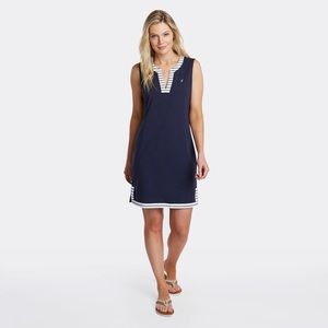 NAUTICA STRIPED PALMETTO SPLIT DRESS. BRAND NEW.